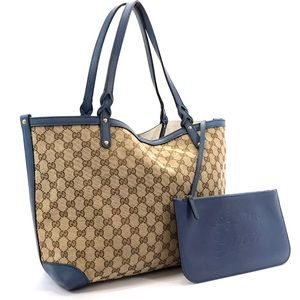 Authentic Gucci brown and blue tote with clutch